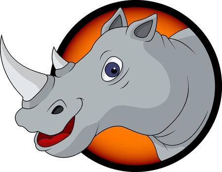 snuffelen: grappige neushoorn hoofd cartoon Stock Illustratie