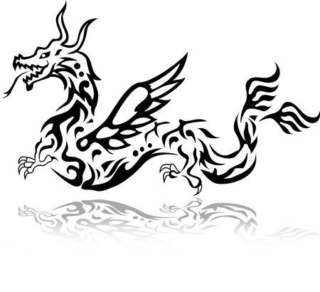 dragon tattoo tribal Vector