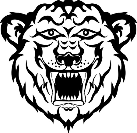 tiger head black and white tattoo tribal Vector