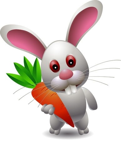 cute rabbit cartoon with carrot