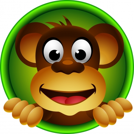 crazy cute: cute monkey head cartoon Illustration
