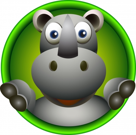 funny rhino head cartoon Vector