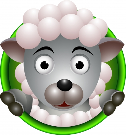 funny sheep head cartoon Vector