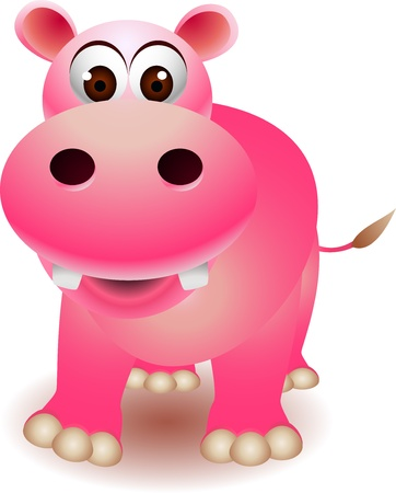 cartoon hippo: cute hippo cartoon Illustration