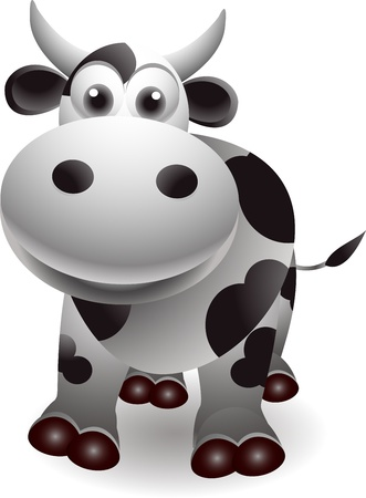 holstein cow: cute cow cartooon Illustration
