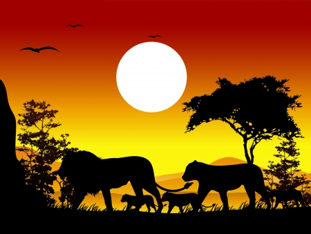beauty lion family trip silhouettes with landscape background Vector