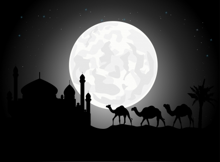 cairo: Beautiful camel trip silhouettes with mosque and giant moon background