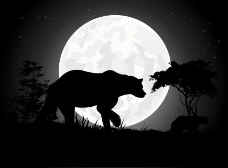 Beautiful Bear silhouettes with giant moon background Vector