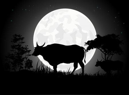Beautiful Cow silhouettes with giant moon background Vector