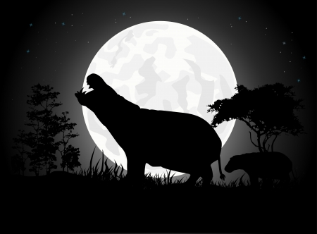 Beautiful Hippo silhouettes with giant moon background Vector