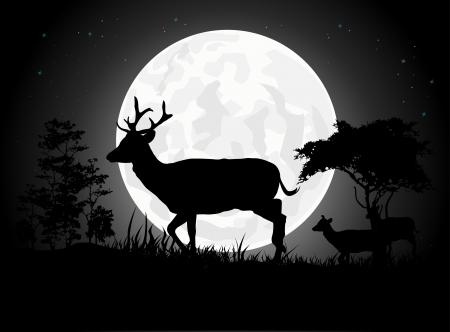 incendio bosco: Sagome bellissimo cervo con sfondo la luna gigante Vettoriali