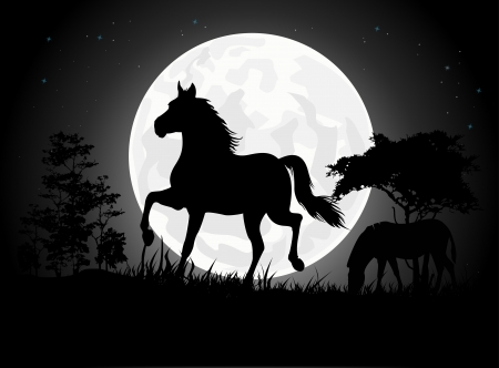 Beautiful Horse silhouettes with giant moon background Vector