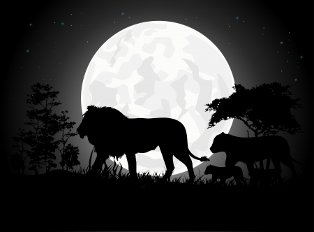 mountain lions: Beautiful Lion family silhouettes with giant moon background Illustration