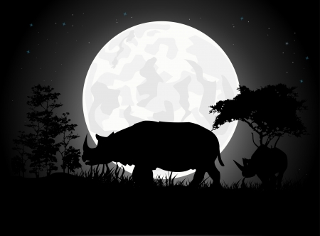 Beautiful Rhino silhouettes with giant moon background Vector