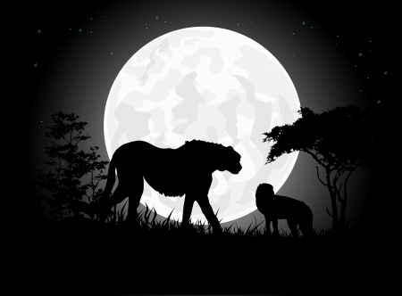 Beautiful Cheetah silhouettes with giant moon background Vector
