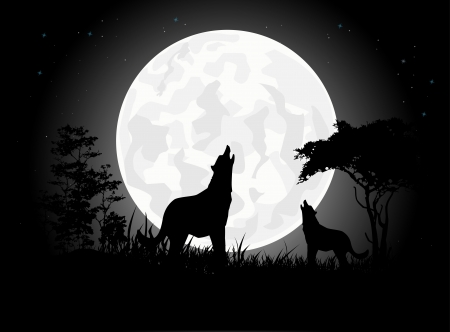 beauty Wolf scream silhouettes with Giant Moon background