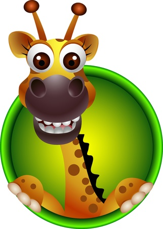 cute giraffe head cartoon Illustration