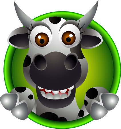 holstein: cute cow head cartoon Illustration