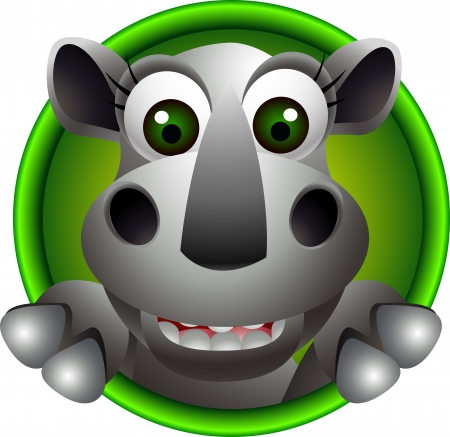 cute rhino head cartoon Vector