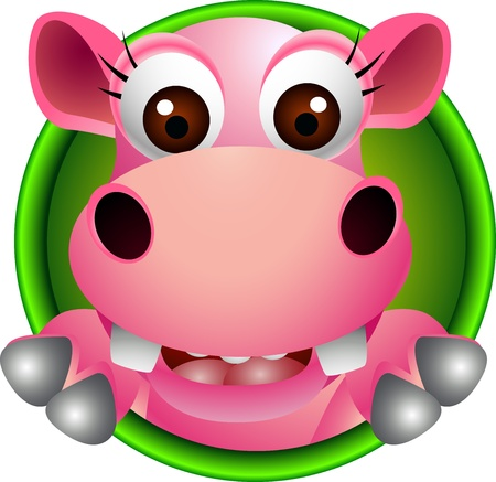 hippopotamus: lindo historieta hipop�tamo cabeza Vectores