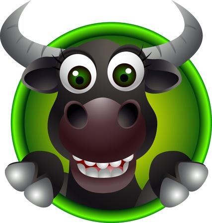 toros bravos: lindo búfalo historieta cabeza Vectores