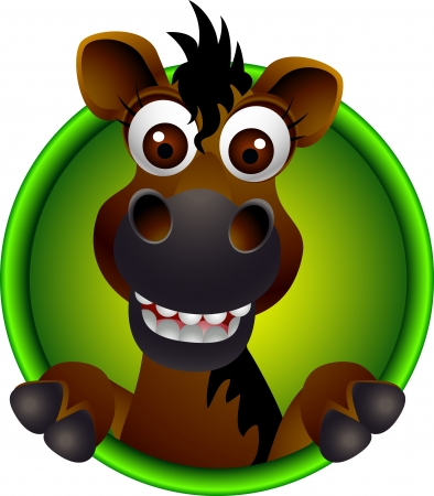carreras de caballos: caballo lindo de la historieta cabeza Vectores