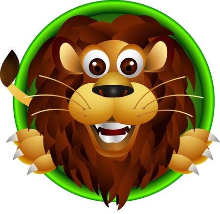 cute lion head cartoon Illustration