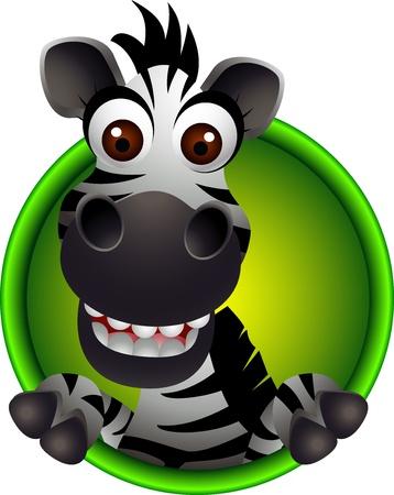 schattige dieren cartoon: schattige zebra hoofd cartoon Stock Illustratie
