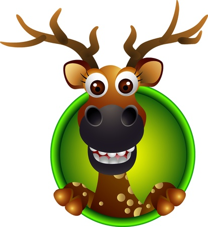 cute deer head cartoon Illustration
