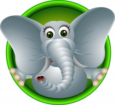 elephant cartoon: simpatico elefante cartone animato testa Vettoriali