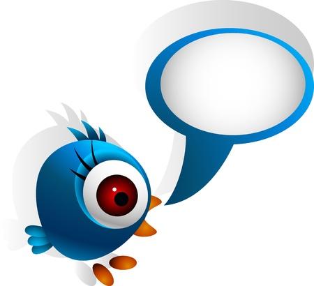 humming: cute blue bird Illustration