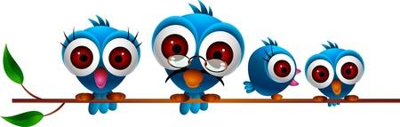 humour: cute blue birds family Illustration