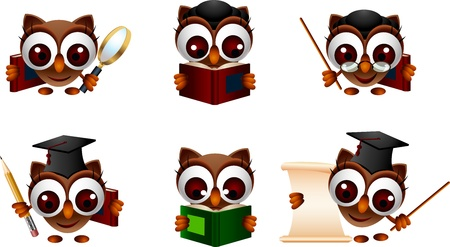 stern: various expression cartoon illustration of a cute owl Illustration