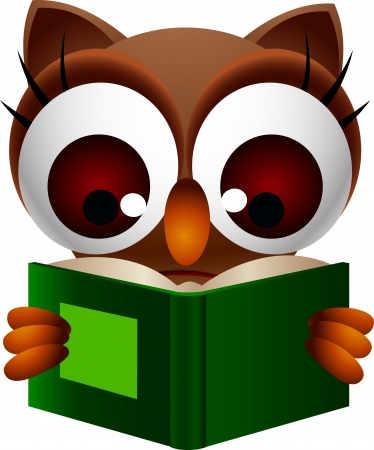 cute owl reading book Stock Vector - 15377103