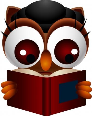 rúdon ülés: aranyos bagoly olvasás könyv Illusztráció