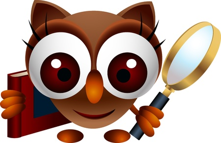 wise owl: cute owl with book and magnifying glass Illustration