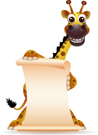 giraffe frame: cute giraffe cartoon with blank sign