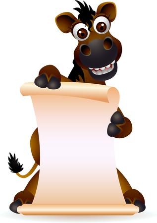 空白記号の付いたかわいい馬漫画