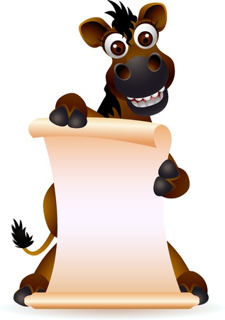 horses in the wild: cute horse cartoon with blank sign Illustration