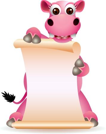 hipopotamo caricatura: lindo hipop�tamo historieta con la muestra en blanco
