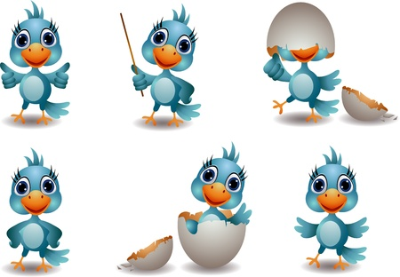 cute baby blue bird cartoon set