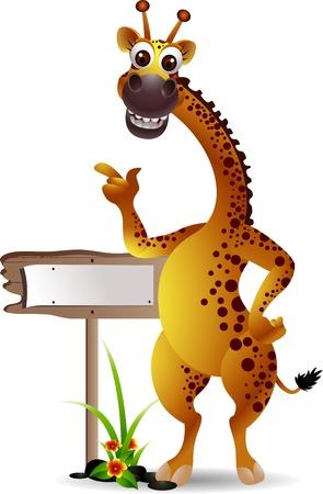 jirafa cute: jirafa de dibujos animados divertido con la tarjeta en blanco