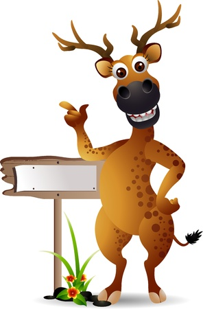 funny deer cartoon with blank board Vector