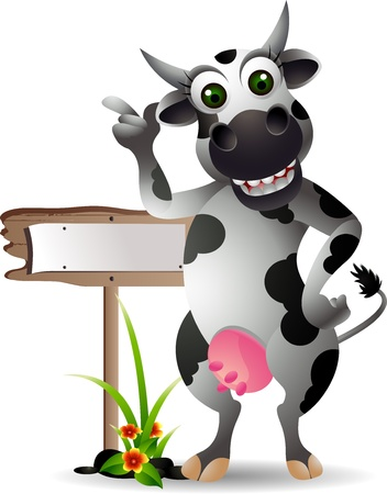 funny cow cartoon with blank board Illustration