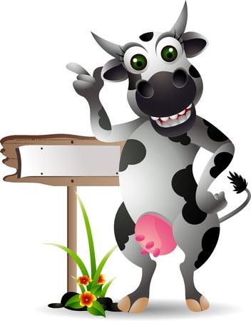 vaca caricatura: vaca de dibujos animados divertido con la tarjeta en blanco Vectores