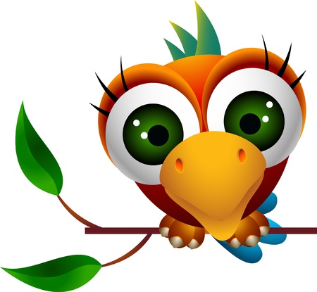 illustration of cute macaw bird cartoon
