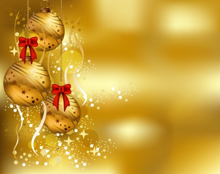 greeting card background: beauty christmas card background with gold color Illustration