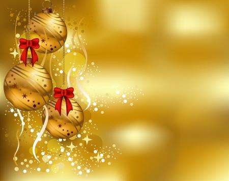 weihnachten zweig: Sch�nheit Weihnachtskarte Hintergrund mit Goldfarbe
