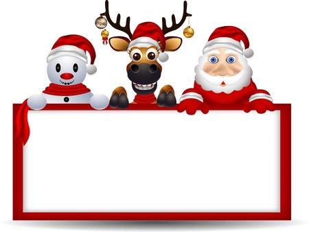 adornos navideños: dibujos animados Papá Noel, ciervos y muñeco de nieve con la muestra en blanco Vectores