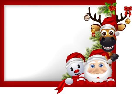 bonhomme de neige: Cartoon Santa Claus, le cerf et bonhomme de neige avec le signe blanc